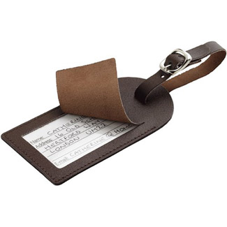 Go Travel 2 Leather Luggage Labels - Brown