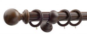 50mm Monarch Countess Antique Walnut Complete Curtain Pole Set 240CM
