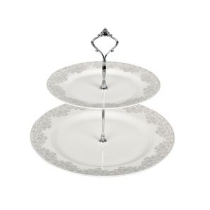 Denby Monsoon Filigree Silver Cake Stand