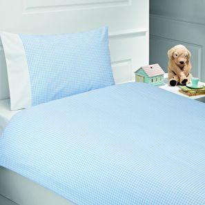 Elainer Gingham Toddler Bed Duvet Cover Set Blue