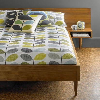Orla Kiely Scribble Stem Housewife Pillowcase Pair Duckegg Seagrass