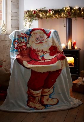 Portfolio Father Christmas Fleece Throw