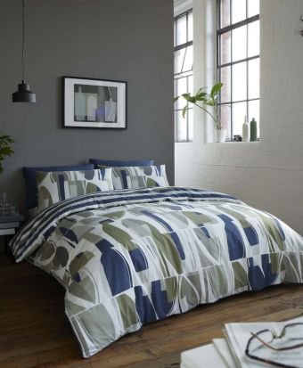 Racing Green Trace Navy & Khaki Duvet Cover Set - Single