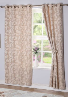 Rochelle Eyelet Curtains Sand 66