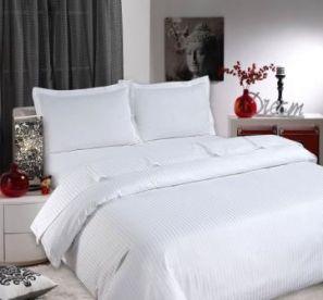 Sateen Stripe White Duvet Cover Set - Double