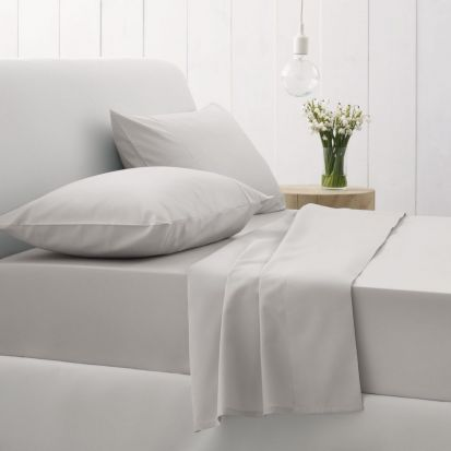 Sheridan 500 Thread Count Cotton Sateen Single Flat Sheet Silver