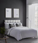 Karen Millen Herringbone Jacquard White Duvet Cover Set - Double